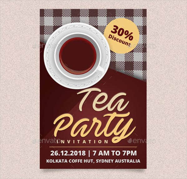 printable tea party invitation card template
