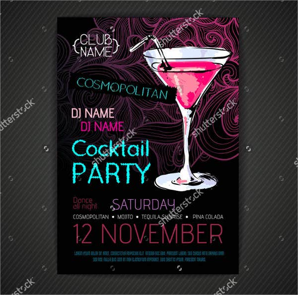 printable cocktail party invitation card template