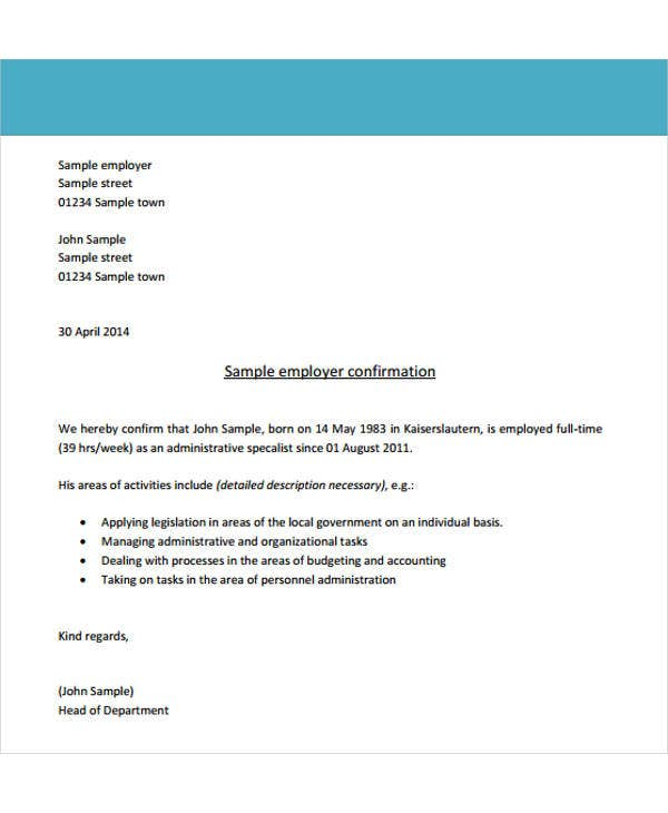 confirmation of employment appointment letter