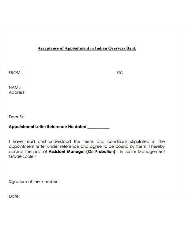 bank job appointment letter format