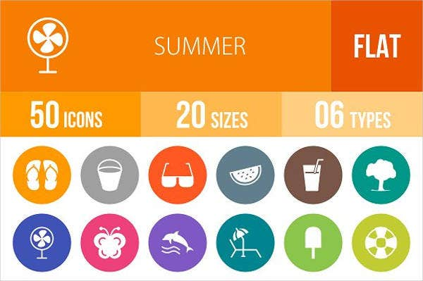 flat rounded summer icons