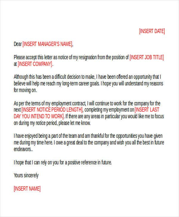 work resignation letter example