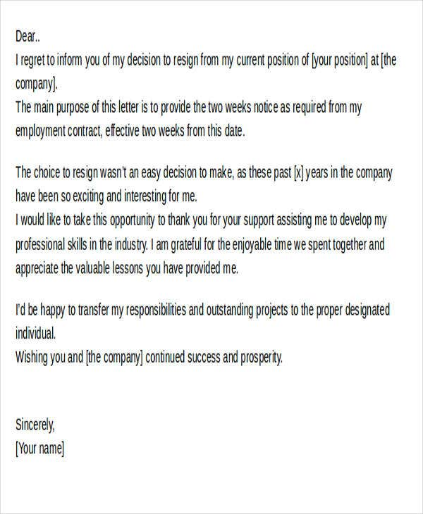 sample current position resignation letter