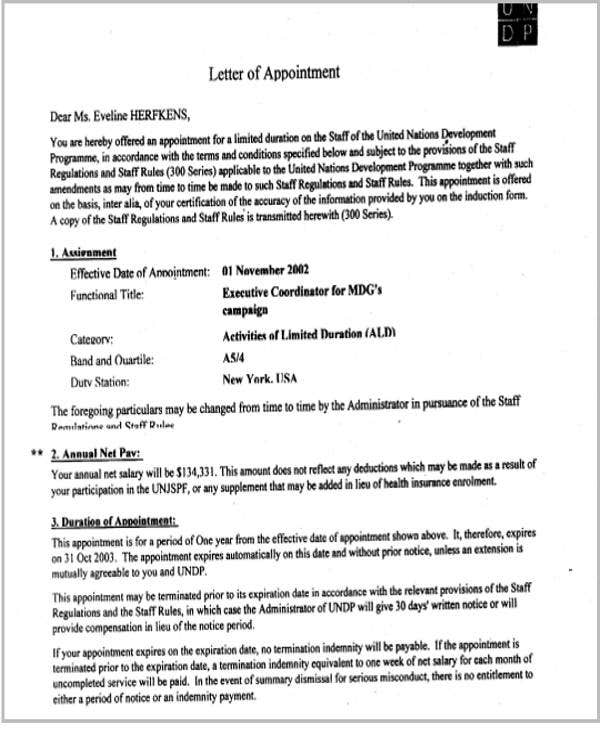 company appointment letter for employee