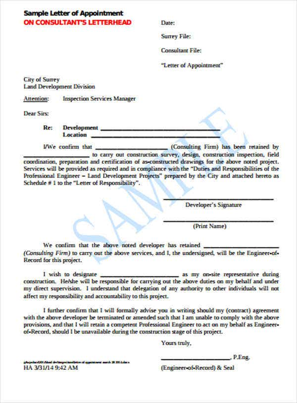 construction contractor appointment letter