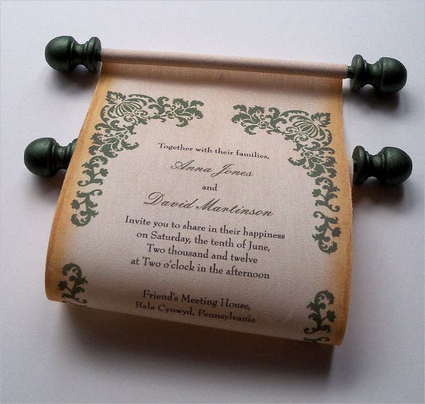 vintage scroll wedding invitation