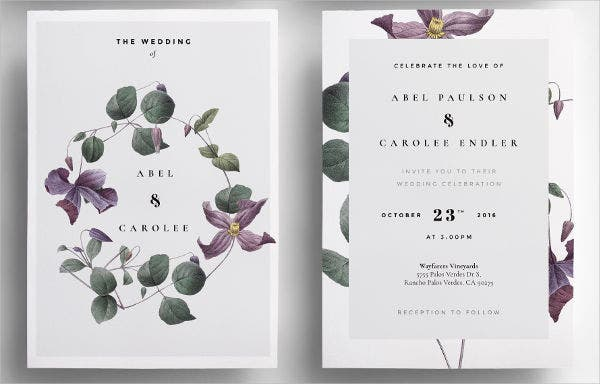 Modern Flower Wedding Invitations
