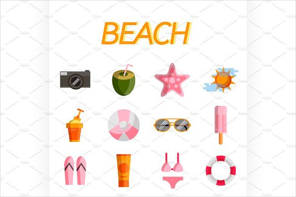 flat beach icons