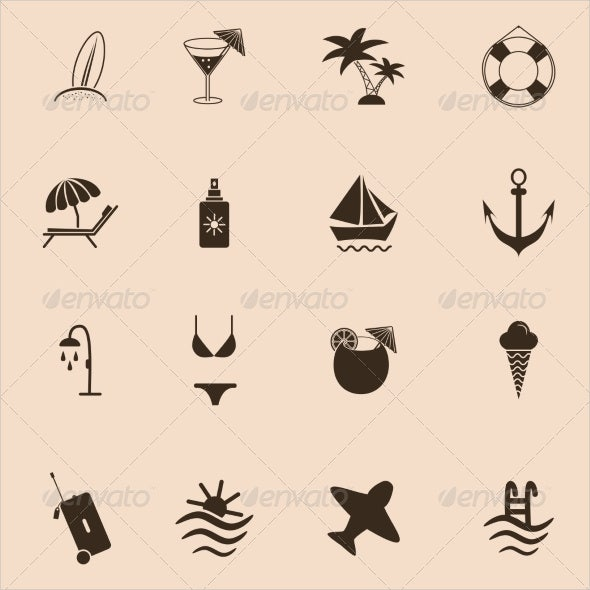 set of travel and beach icons