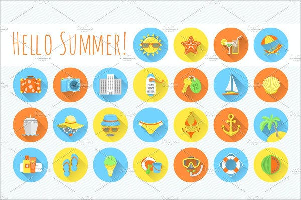 flat rounded summer beach icons