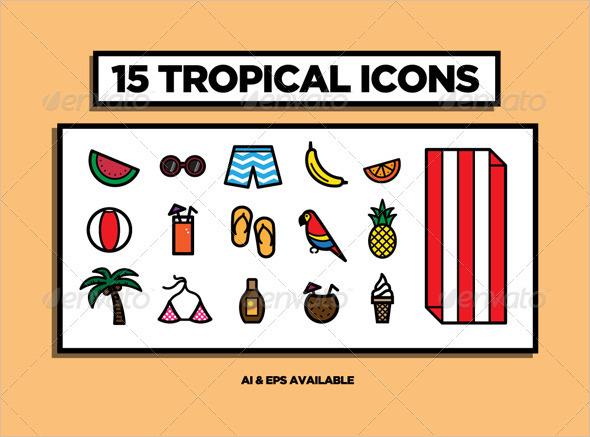 tropical beach icons