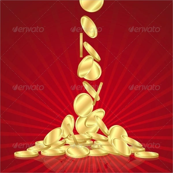 Gold Coin Rain Vector