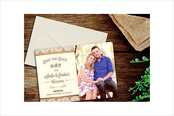 burlap photo wedding invitations2
