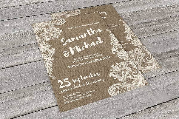 Burlap Lace Wedding Invitations