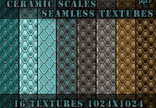 16 Ceramic Scales Seamless Textures