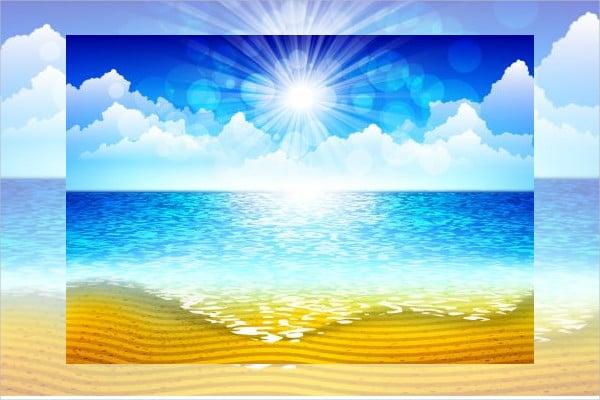 Sun Beach Vector