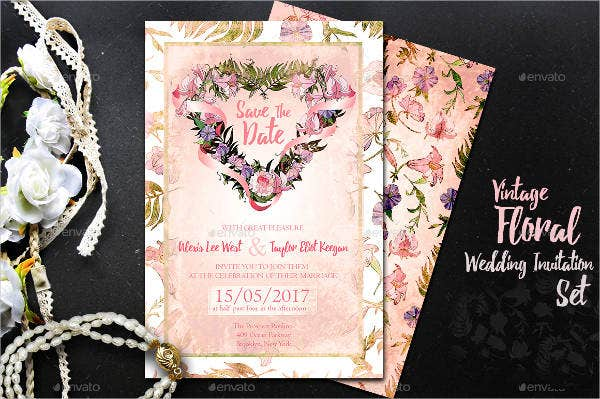 floral vintage wedding invitations1