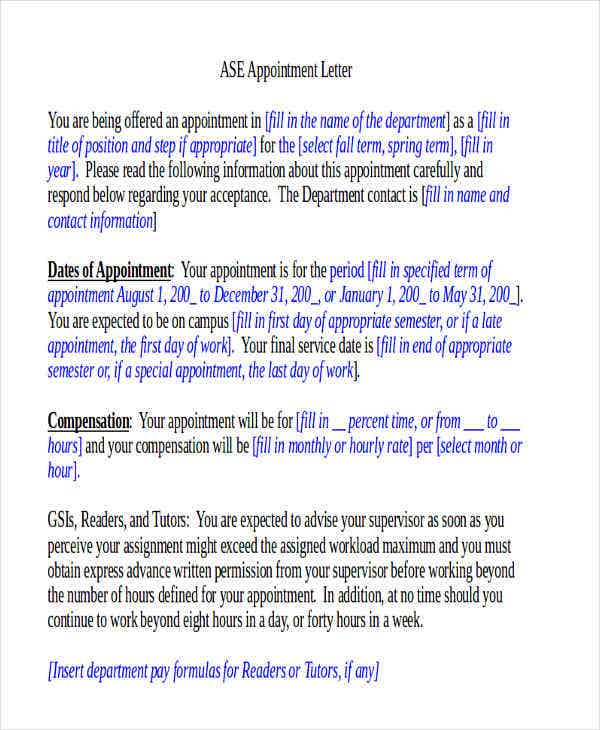 38+ Appointment Letter Templates In Doc | Free & Premium Templates