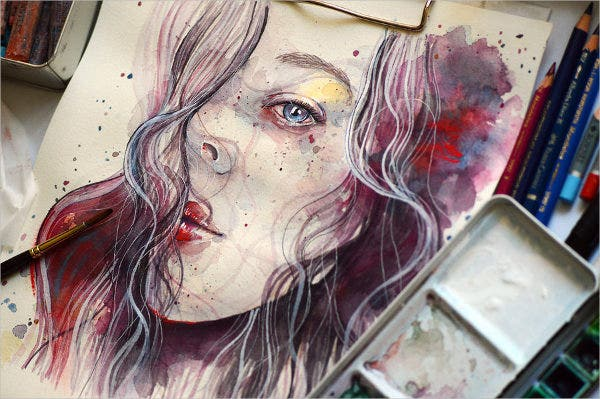 abstract watercolor sketch