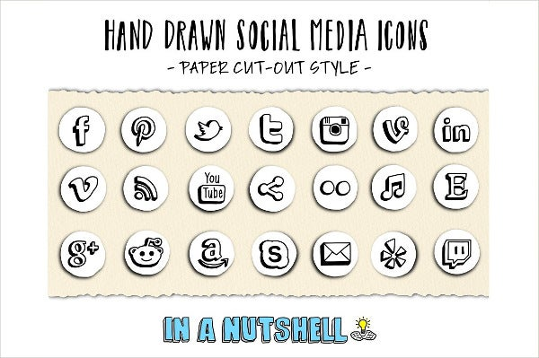 Social Media Hand Drawn Icons