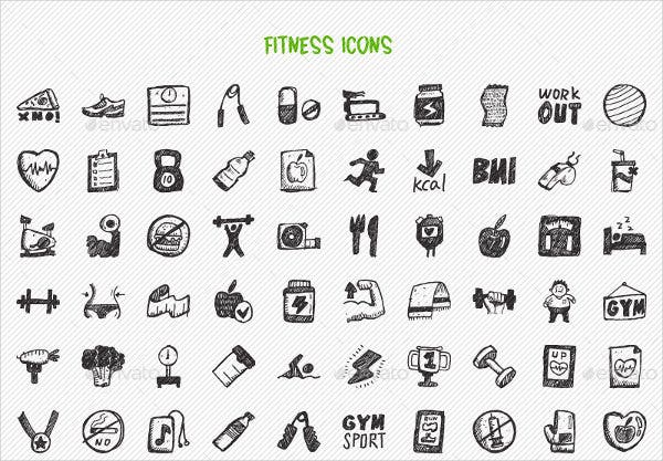 Sports and Fitness Hand Drawn Icons