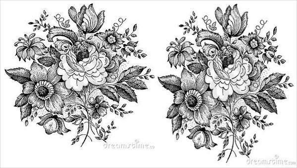 9 flower sketches free premium templates