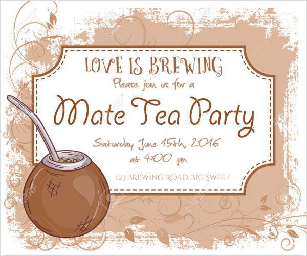 free tea party invitation card