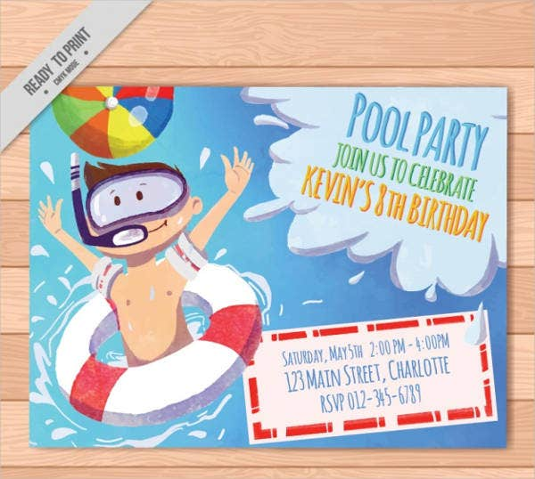 Free Party Invitation – Pool Party Invitation Templates Free Printable