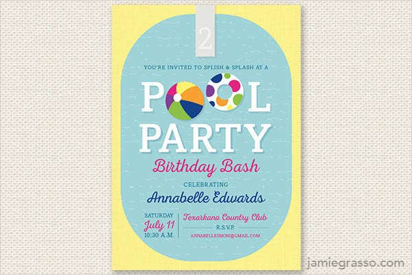 Free party invitation free premium templates free pool party birthday invitation stopboris Images