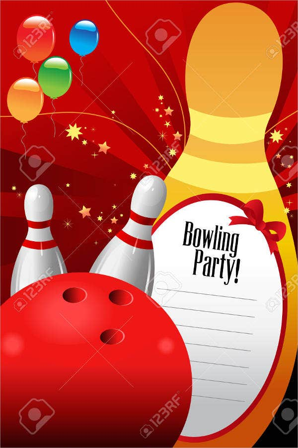 free printable bowling party invitation