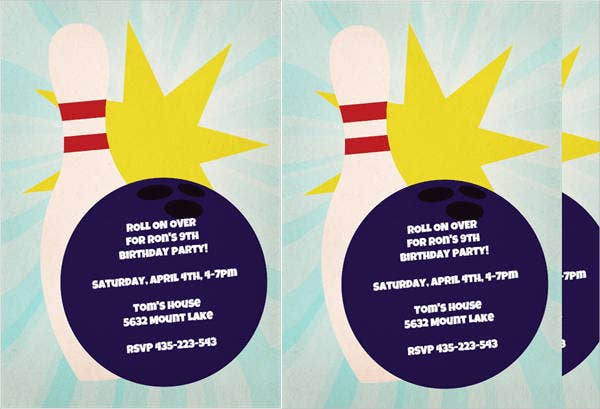 free bowling birthday party invitation