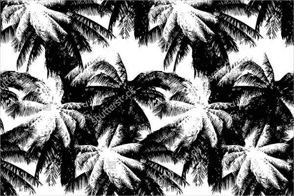 black and white tropical pattern