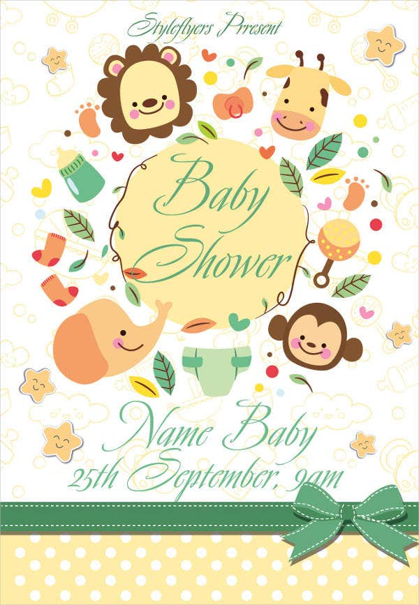 baby shower psd flyer