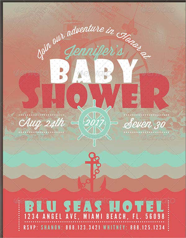 baby shower nautical flyer