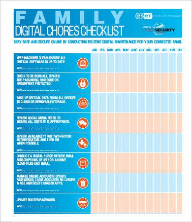 Digital Chores Checklist Template