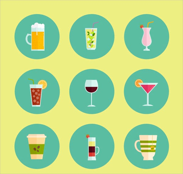 Alcoholic Drinks Icons Set