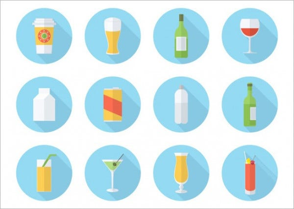 Flat Drinks Icons Set