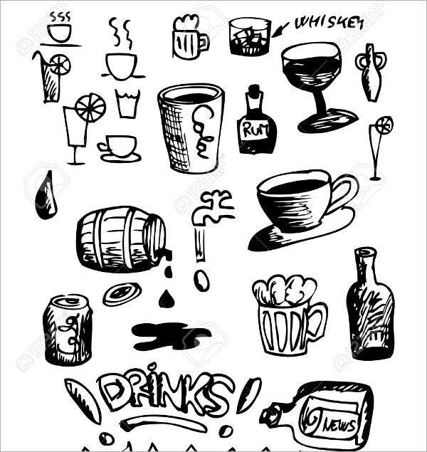 hand drawn drinks icons1