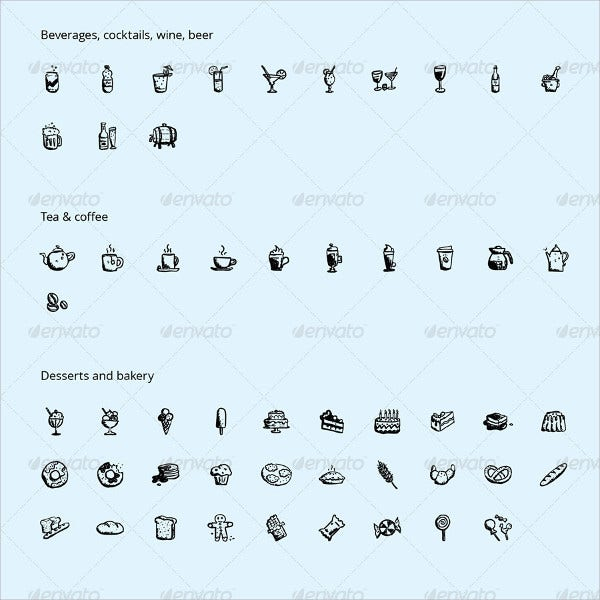 Hand Drawn Food and Drinks Icons