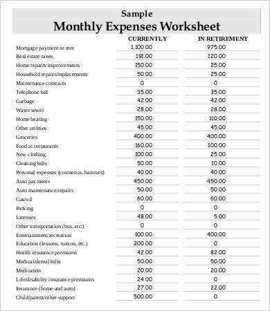 monthly household expense sheet