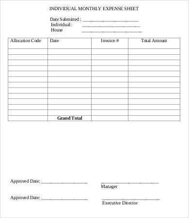 Monthly Expense Sheet   Free Word Pdf Documents Download