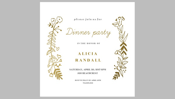 Nice Free Printable Dinner Party Invitation Idea