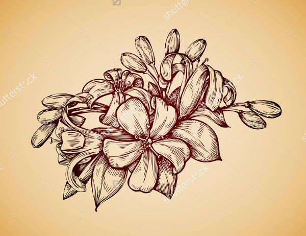 Line Art Flower Design : Vintage sketches art ideas free premium templates