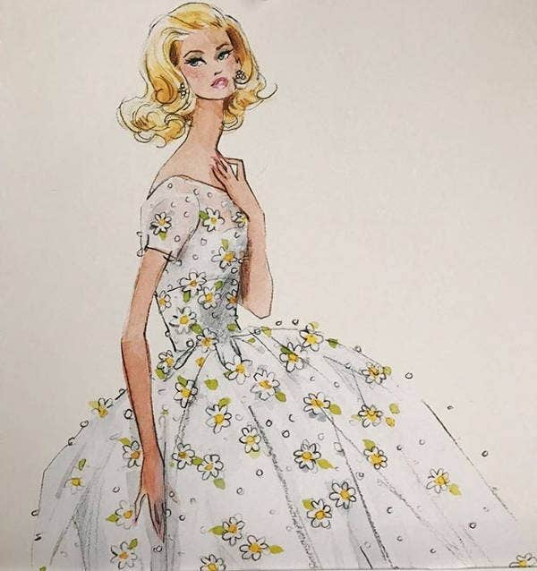 vintage barbie sketch