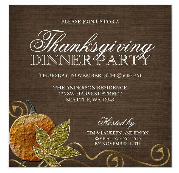 Sample Thanksgiving Dinner Invitation  Printable Dinner Invitations