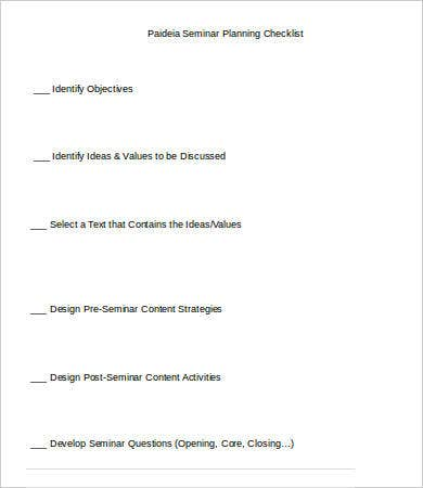 Seminar Planning Checklist Template