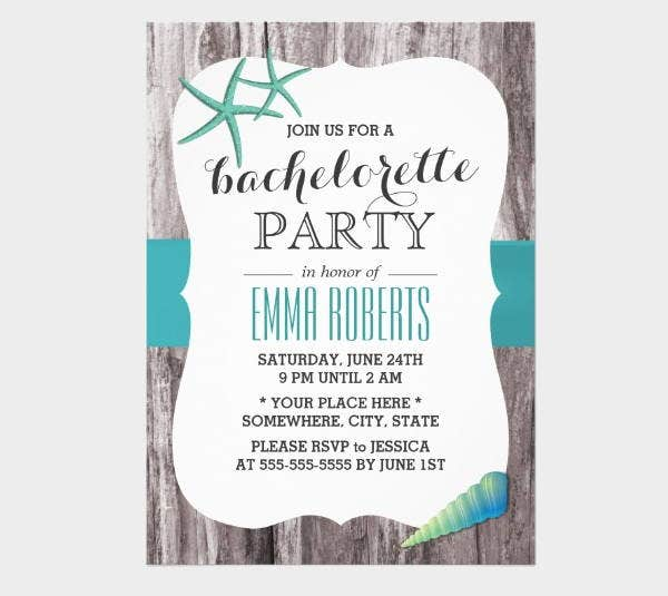 beach bachelorette party invitation