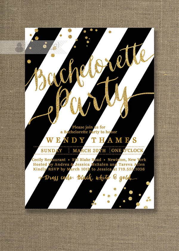 black and white bachelorette party invitation