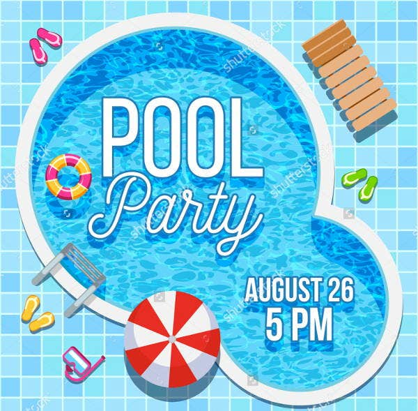 blank pool party invitation