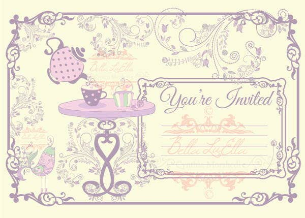 blank tea party invitation
